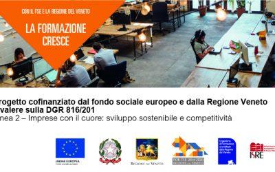 Progetto cofinanziato dal fondo sociale europeo Regione Veneto  il progetto a valere sulla DGR 816/2019 Linea 2 – Imprese con il cuore: sviluppo sostenibile e competitività