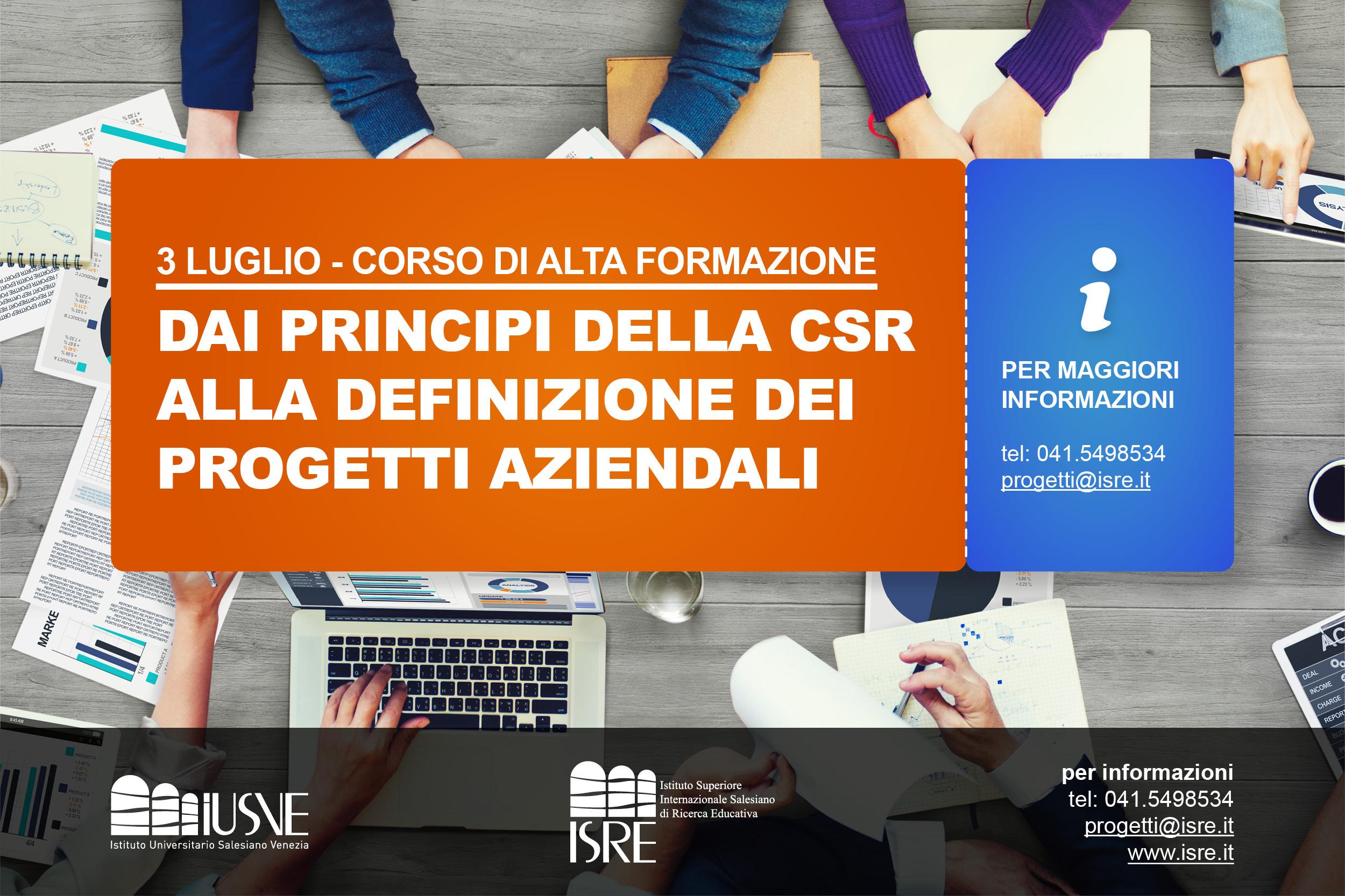 """3 Luglio inizia il Corso Alta Formazione – """"Dai principi della CSR alla definizione dei progetti aziendali"""""""