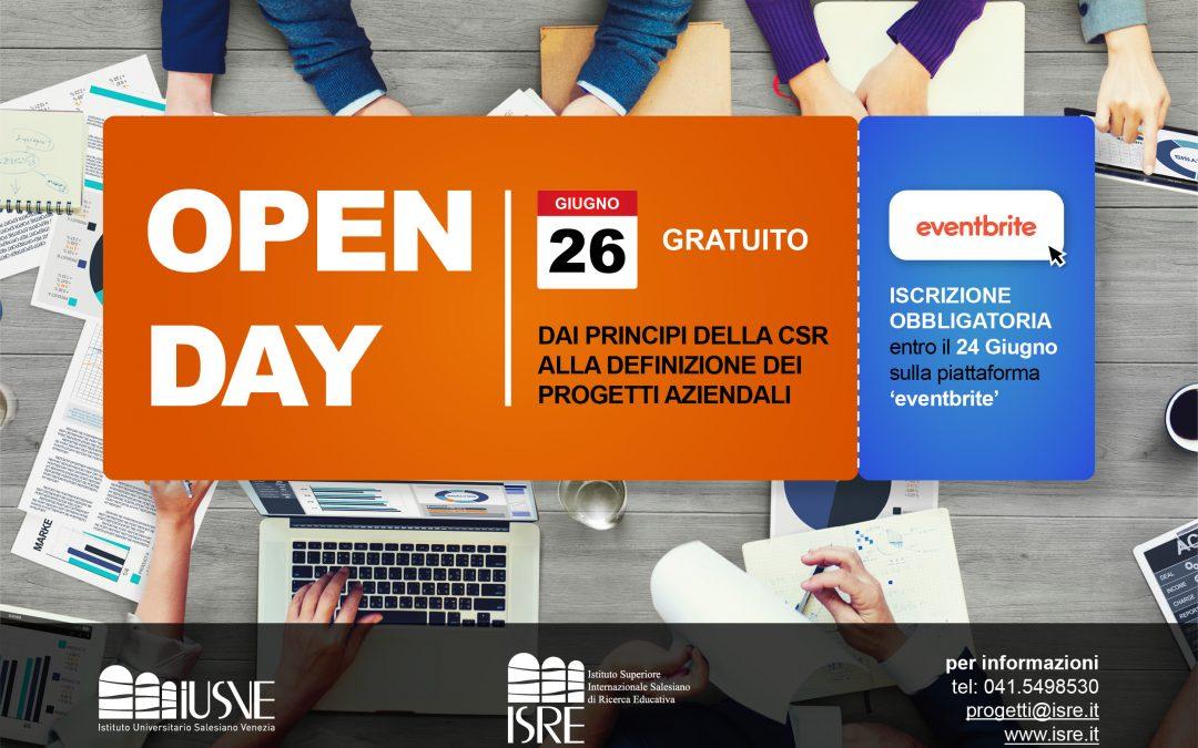 """Open Day 26 Giugno – Corso Alta Formazione – """"Dai principi della CSR alla definizione dei progetti aziendali"""""""